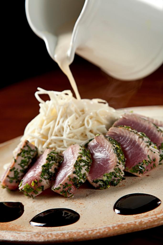 Seared Fresh Tuna with Hearts of Palm Tagliatelle and HorseRadish Sauce